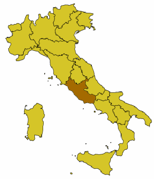 Mapa de Italia destacando la región del Lacio.