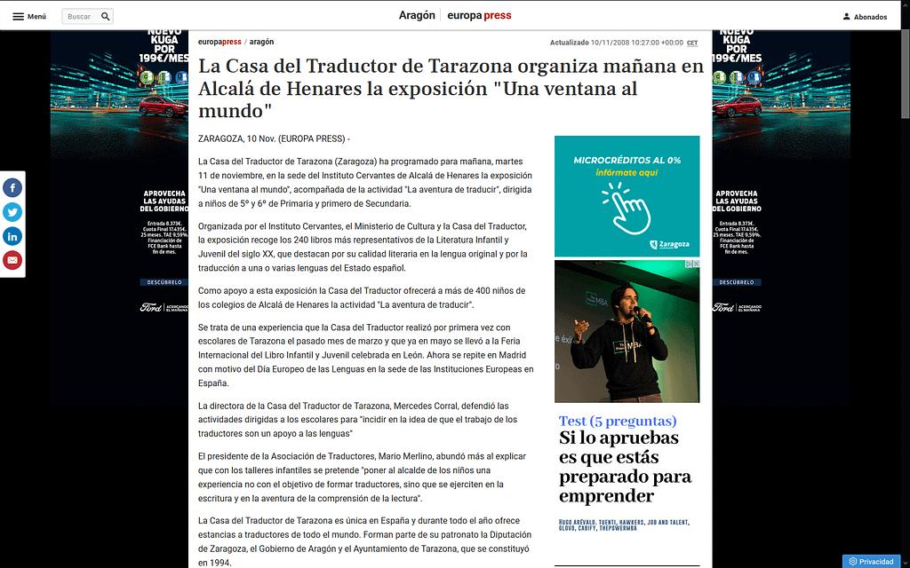 Captura de pantalla de la página de Europa Press que publica la noticia.