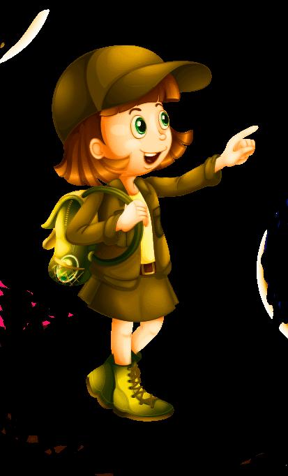 Dibujo de niña exploradora andando.