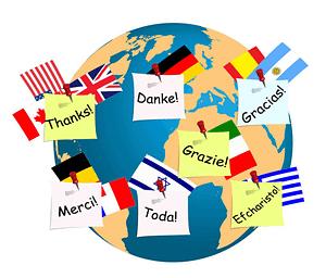 La palabra gracias en varios idiomas.
